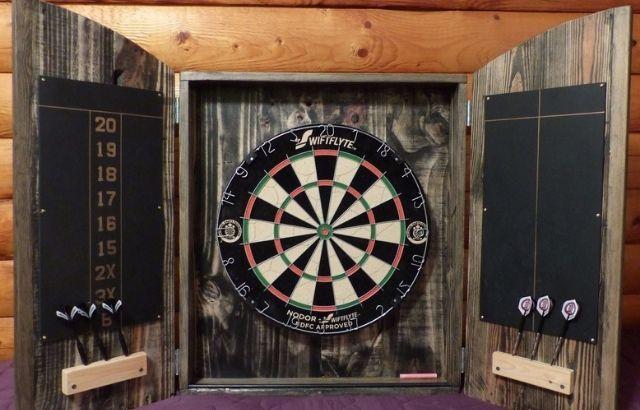 how to make a dartboard cabinet